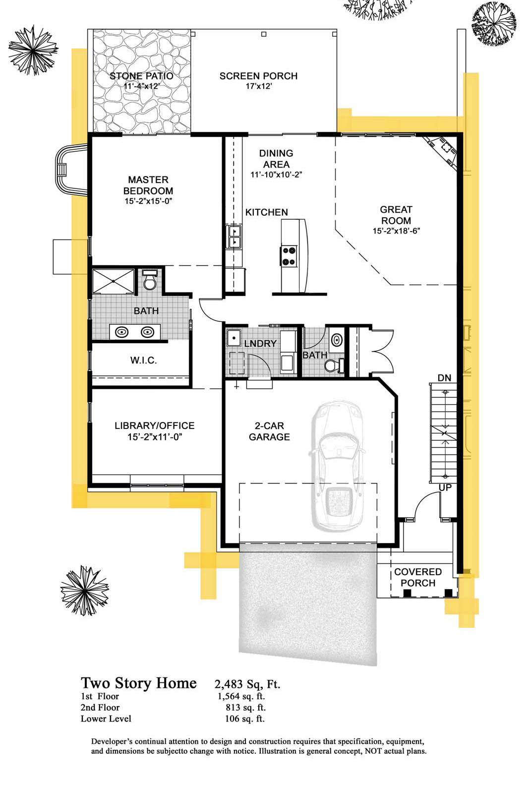 Green lake cobblestone condos 2 story 2 483 sq ft for Two story condo floor plans