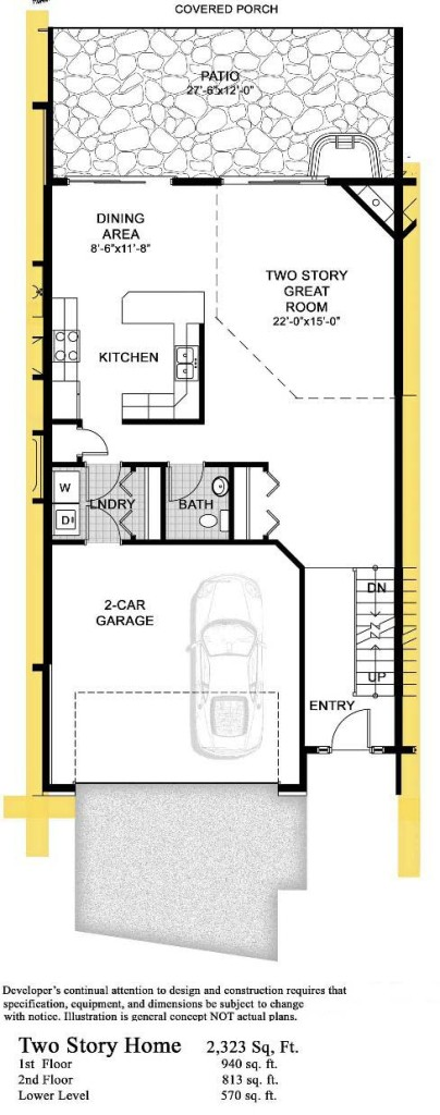 Green lake cobblestone condos 2 story 2 323 sq ft for Two story condo floor plans
